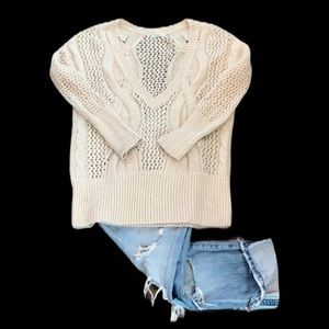 Kimchi Blue Beige Cable Knit Deep V Sweater S